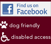 Like us on Facebook, Dog Friendly, Disabled Access